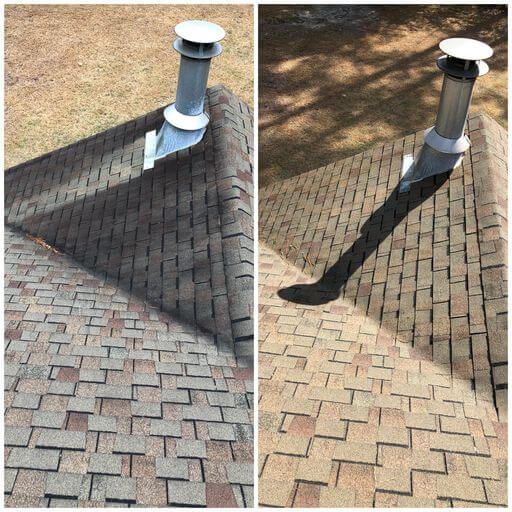 Before and after images displaying the differences in a roof's color and condition after it has been soft washed